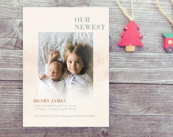 New Year's Baby Announcement Photo Card