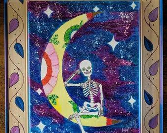 Moon Stars Celestial Starry Nighttime Skeleton Framed Canvas Original Art