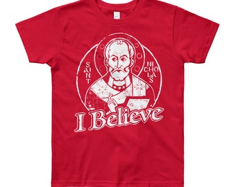 Youth Short Sleeve T-Shirt, St Nicholas I Believe, the original Santa!