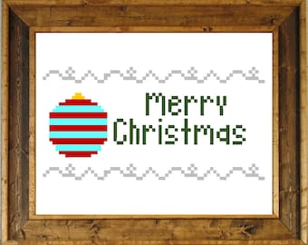 Merry Christmas Cross Stitch Pattern