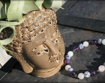 Hematite, Rose Quartz, Sodalite and Amethyst Gemstone Bracelet