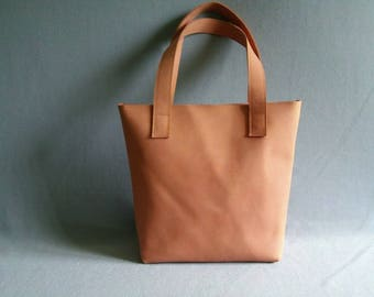 Soft orange leather shopper, leather bag, handmade