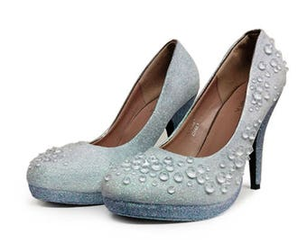 Original Custom Glitter Mermaid Shoes UK size 5