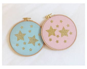 Gold plated stars wood frame