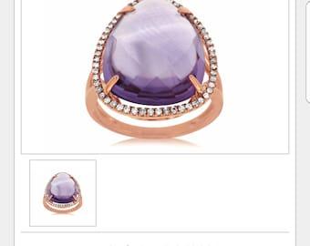 Rose Gold, Febuary Birthstone, Diamond ring, Amethyst ring, Amethyst Jewelry, Rose Gold Ring, Custom Jewelry, Nelson's Jewelers