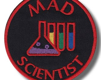 Mad scientist - embroidered patch, 8x8 cm