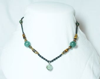braided Tiger eye beads and jade green jade pendant necklace