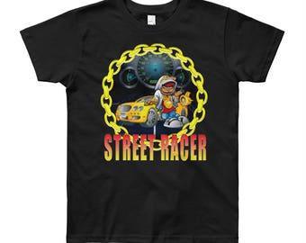 Boy's street racing muscle car Youth Short Sleeve T-Shirt