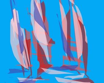 Sails on  blue  sky's