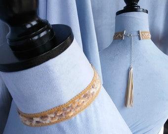 Chenille choker in soft neutral colors w/leather tassel, backdrop choker necklace, OOAK jewelry statement necklace, tassel pendant, handmade