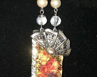 Vintage Domino Necklace-silver fan