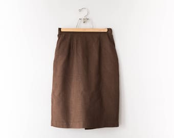 Vintage Brown Pencil Skirt // 1980's Soft Brown Skirt // Women's Size Small/Medium