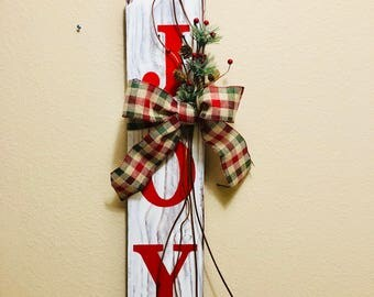 Handmade Wooden Joy Holiday Wall Hanging