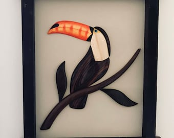 Hand Carved Tucan Wall Relief