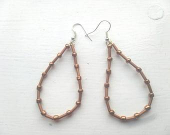 Bronze hand beaded earrings