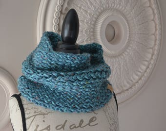 Aqua tweed hand-knitted cowl scarf