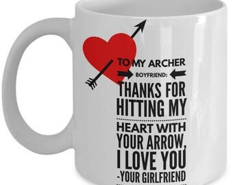 To My ARCHER BOYFRIEND! White Coffee Mug, Archer Boyfriend's Gift, Archer Boyfriend's keepsake,Archer Boyfriend's present.