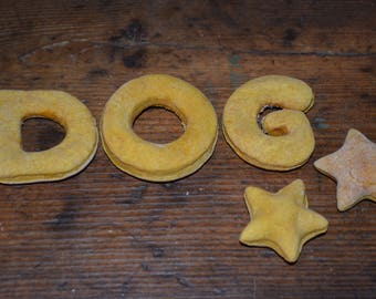 "Personalized Dog Treats by ""In the Name of the Dog,"" 3 LETTERS, Handmade w Organic Flour, Natural Purees, & Spices/Oils, Dog Name Biscuits"