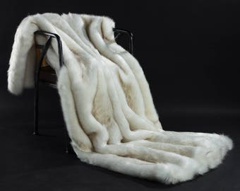 White Faux Fur Weight Blanket - Arctic Walf, weight Blanket, Throw Blanket, Faux Fur Throw