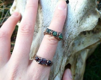 Handmade copper / raw gem / witch ring / post apocalyptic / crust punk / witchy / witchcraft / punk gift / occult / goth / ring / jewelry