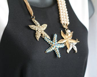 Chicos Ocean Beach Inspired Necklace with Starfish and Faux Pearls 22 inches