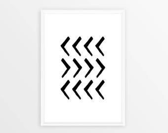 Geometric Art, Wall Art, Brush Stroke Art, Black and White, Modern Wall Art, Geometric Prints, Arrow Wall Decor, Black Brush Painting, Print