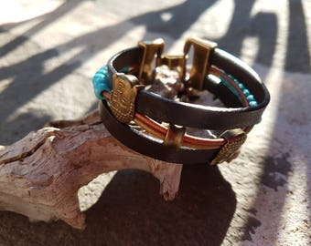 Bohemian leather bracelet and turquoise beads