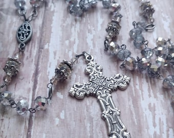 Clear and Silver Plated Antiqued Rosary