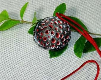 Grey-red-white pendant, clay, modelin, Almost spherical, convex on both sides, for everyday and visit style, for her, Christmas gift,for mom