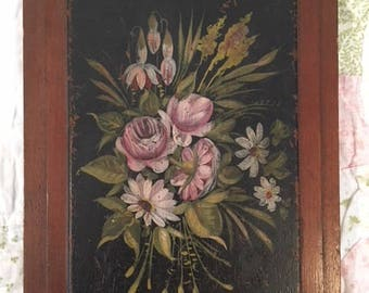 Vintage Tole Painted Floral and Waterfall on Wooden Plaque