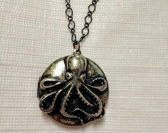 Octopus locket chain necklace