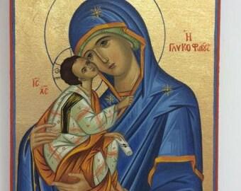 Handmade Byzantine Icon Of  Our Lady Theotokos