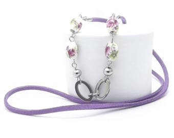 Long Necklace, Floral Ceramic Beads, Stainless Steel Beads and Jump Rings and Pins, Faux Suede Cord, Flower Pendant, Best Selling Items