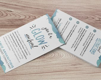 Personalized Rodan and Fields Mini Facial Referral Double Sided Business Card