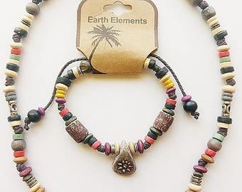 Beach Earth Elements Necklace Bracelet, Spiritual Beaded Surfer Men's Jewelry