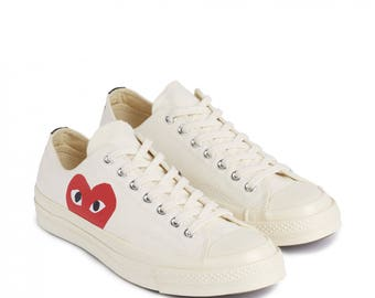 COMME des GARÇONS Play x Converse Low White All Sizes Limited Edition