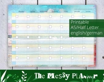 SocialMedia Calendar 2018 THE MESSY PLANNER, Printable