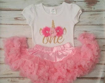 Light Pink hot pink and Gold Unicorn 1st or 2nd Birthday 3d Shirt and Pettiskirt Tutu Birthday Outfit