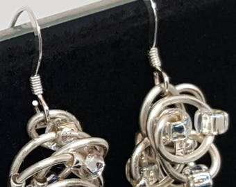 Sterling Silver & Silver Artistic Wire ROSE Earrings with Mixed Seed Beads