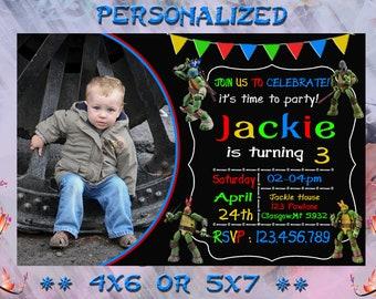 TMNT Teenage Mutant Ninja Turtles Invitation - Printable Birthday Party Invite - Custom Personalized You-Print Digital Photo Car