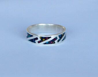Silver inlay ring.