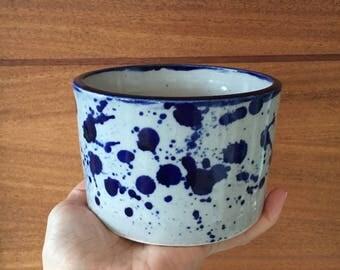Ceramic Planter // Cobalt Splatter