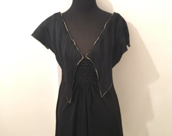70's vintage BLACK MINI dress with large collar detail