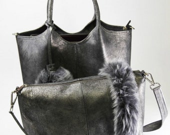 Women Bag leather Gray color -made by hand - sheep fur