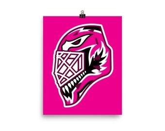 """Pink """"92"""" Goalie Mask Poster"""