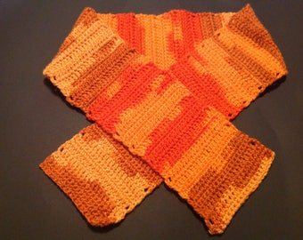 Orange Crochet Scarf, Long Neck Warmer, Double and Single stitch