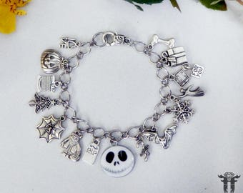 Nightmare Before Christmas Jack Skellington Inspired Charm Bracelet