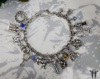 Handmade Beaded Beauty and the Beast Classic Fairy Tale Inspired Charm Bracelet