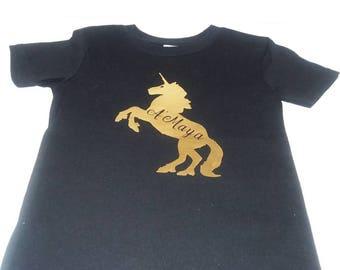 Golden Unicorn Youth T-shirt Custom T-shirt Little Girl T-shirt Girls Shirt Girls T-Shirt Kids T-Shirt Girls Shirts Tshirts