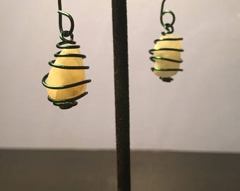 Spiral Wrapped Semi-Precious Stone/Crystal Earrings